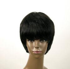 perruque afro femme 100% cheveux naturel courte noir ref SHARONA 01/1b