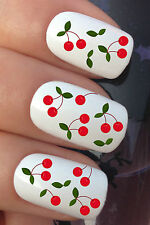 NAIL ART SET #648 x12 FRUITY CHERRY STALKS LEAF WATER TRANSFER DECALS STICKERS