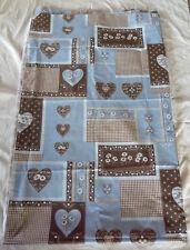 Magnifique coupon tissu MONTAGNE PATCHWORK motifs COEURS EDELWEISS tons de BLEU