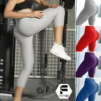 Womens Capri Yoga Pants High Waist Ruched Sports Fitness Gym Stretch Leggings US