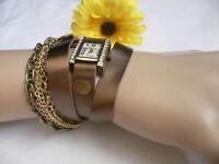 Neuf Femme Montre Quartz Rouillé Or Bronze Chaînes Simili Cuir Bracelet Strass