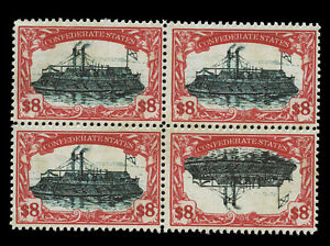 Confederate states, Iron Clad War ship, High Value 8 dollars, Inverted center!