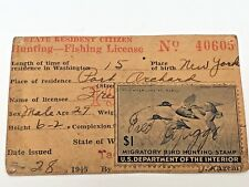 State of Washington Duck Stamp 1945 Hunting & Fishing License