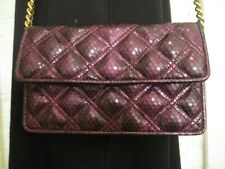 JACOB BY MARC JACOBS Purple Python Embossed Leather Clutch / Shoulder Bag Chain