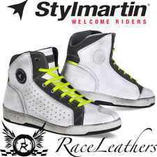 STYLMARTIN SECTOR WORN WHITE VENTED MOTORCYCLE URBAN CASUAL BIKE BOOTS SNEAKERS