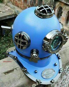 Antique Marine Blue & Chrome Finish US Navy Diving Helmet Scuba Helmet Replica
