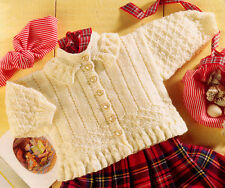 """Little Button Up Baby Girl Jacket To Knit - Frilled Collar & Edge DK 16"""" - 22"""""""