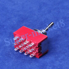 10PC ON-ON 4PDT 12pin Terminal Red Toggle Switch Guitar Amp