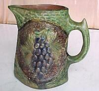 19C. ANTIQUE FOLK REDWARE GLAZED POTTERY PITCHER JUG