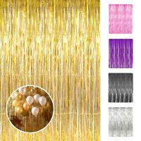 3x8ft Metallic Tinsel Foil Fringe Curtain for Party Photo Backdrop Wedding Decor