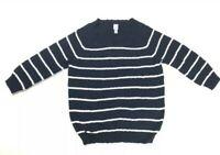 JCP JC Pennys Womens Size XL Navy Blue White Striped 3/4 Sleeve Cotton Sweater