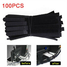 100Pcs Reusable Nylon Strap Hook and Loop Network Cable Cord Ties Tidy Organiser