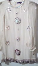 Pure Silk French Connection Cream Embellished Short Dress/Long Top sz10