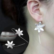 New Flower 925 Silver Long Drop Dangle Tassel Hook Earrings Ear Women Jewelry JT