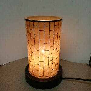Round Touch Sensor Side Table Bed Lamp Vanity Bamboo Inspired Boudoir Nature