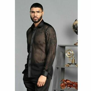 Mens Manzini Shirt Black Stripe Lace See Through Club Button Up Silky Collar