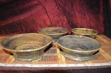 4 Assorted Handmade Pottery Bowl Handcrafted Clay Art Browns Signed Grey 2012