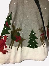 Crate Barrel Tree SKIRT Christmas Reindeer Skirt 52 in Wool Nylon BLEND Holidays