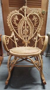 Vintage Boho Style Chair On Runners / Rocking Chair Peacock Heart LOCAL PICKUP
