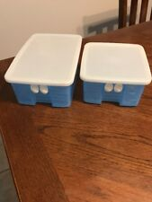 TUPPERWARE ~ Fridge Smart ~ #3991 & #3993 Blue ~ Vented Veggie Containers ~ two