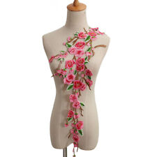 Embroidered Rose Flower Motif Collar Sew Lace Patch Applique Bust Dress Pink