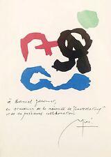 Joan Miro, Pochoir, Dedicated to Daniel Jacomet, Hand signed