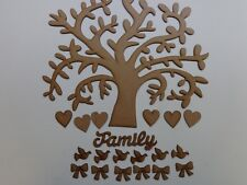 Pack 6 x Family Tree Kit - Tree Bows Birds Hearts 300mm Wooden MDF Craft Blank