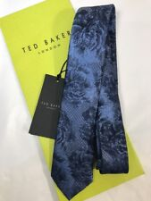 Ted Baker Tie With Tie Sleeve 100% Silk 5.5cm Rose Cherry Blue