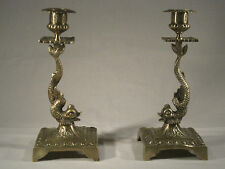 Ancienne Paire Bougeoir Candélabre Aux Dauphins Royal Couronne Bronze Epoque XIX