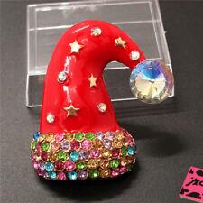 Betsey Johnson Charm Brooch Pin Gift Color Enamel Cute Christmas Hat Crystal