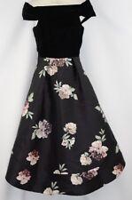 Portmans Signature Dress Sz 6 XS Floral Black Satin Off Shoulder Formal Wedding