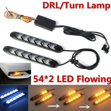 2pcs White/Amber Car Flexible DRL Switchback Flowing DRL Turn Signal Waterproof