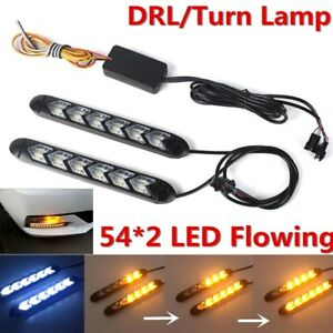 2 in1 White/Amber Car Flexible DRL Switchback Flowing DRL Turn Signal Waterproof