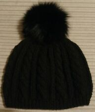 LADIES WOMENS HAND KNITTED BEANIE HAT DETACHABLE REAL FUR BOBBLE POM POM BLACK
