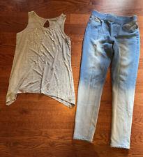 Justice Lot 2 Girl's Sz 12 Legging Jegging Jeans Gray Tank Top Sequins Med Rise