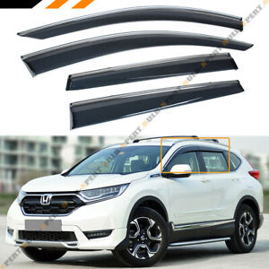 FOR 17-2020 HONDA CRV CR-V SMOKE TINTED WINDOW VISOR VENT W/ CHROME TRIM & CLIPS