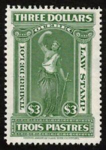 CANADA, QUEBEC RARE LAW STAMP 1912 $3 #QL67 VF MNG NH VINTAGE REVENUE CV $25.00+