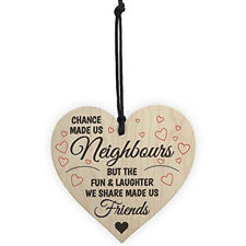 Chic Red Ocean Chance Made Us Neighbours Novelty Wooden Hanging Heart Plaque
