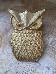 Vintage! H.C. Cook Co. Gold-Tone Owl Clip