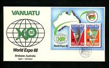 Postal History Vanuatu Fdc #479 Land Diving Wind Surfing sports World Expo 1988
