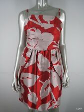 NWT $1495 LIDA BADAY Red Ivory Silk Floral Ruched Sheath Tulip Dress 8 M NEW