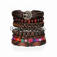 7pcs Brown Tree of Life Braided Leather Bracelet for Men Women Wristband Set