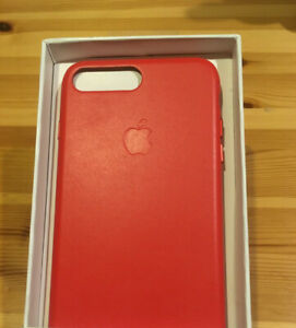 Apple iPhone 7 Leather Case & Tempered Glass Screen Protector Red