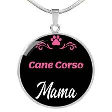 """Cane Corso Mama Necklace Circle Pendant Stainless Steel Or 18K Gold 18-22"""" Dog M"""