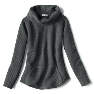 Women's ORVIS Quilted Cowl Neck Sweatshirt Pullover! GRAY!-Size L