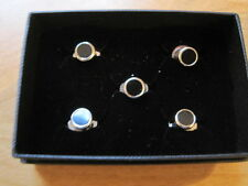 DRESS SHIRT STUDS, BLACK WITH SILVER COLOURED EDGING