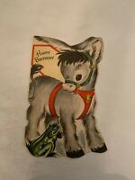 Vintage 1950's Happy Birthday Greeting Card Donkey and Frog Graphics