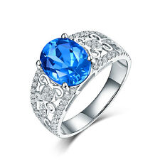 14K White Gold Natural Blue Topz & Real Diamonds Engagement Ring  Oval Shape