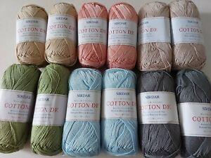 Sirdar Cotton DK 12 x 100 grams Mixed Lot (2 balls of each shade)