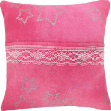 Tooth Fairy Pillow, shades of pink, silver star print fabric, white lace trim